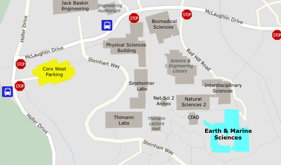 image of map science hill, core west parking and the earth and marine sciences building